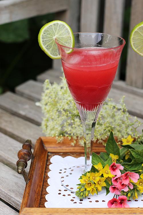 Drink mit Wassermelone und Holunderblütensirup