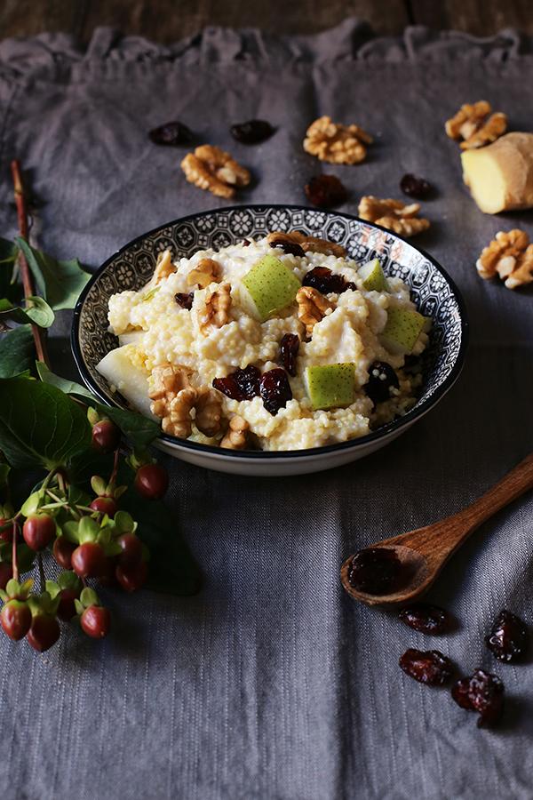 Rezept Frühstücks-Hirse mit Birne, Cranberrys, Walnüssen und Ingwer